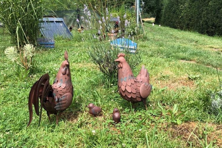 poule décoration en métal