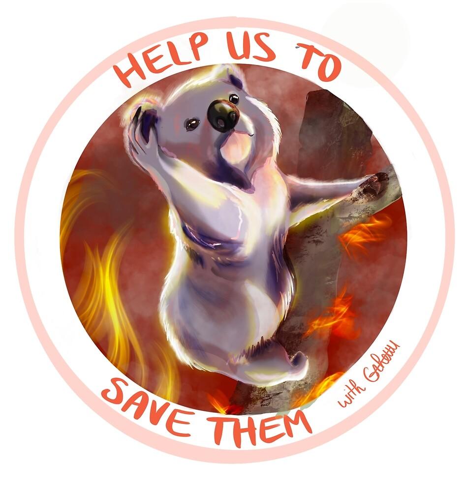 """logo """"help us to save them"""" : venir en aide aux animaux sinistrés d'Australie"""
